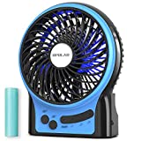 OPOLAR Rechargeable Portable Fan, 2200mAh Battery Operated or USB Powered Fan, Handheld Fan