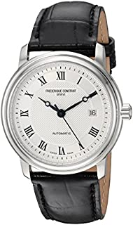 Frederique Constant Men's Classics Stainless Steel Automatic-self-Wind Watch with Leather Calfskin Strap, Black, 22 (Model: FC-303MC4P6)