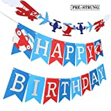 C L COORPER LIFE Airplane Birthday Banner Aviation Supplies for Airplane Aviator Themed Party Happy Birthday Up and Away Felt Party Silver Glitter Decoration
