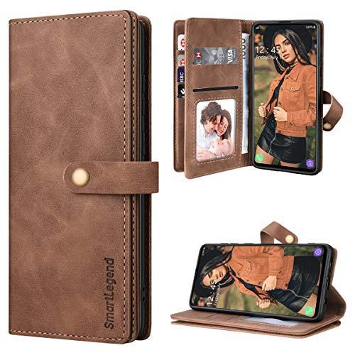 SmartLegend Handyhülle für Samsung Galaxy A71 Hülle Premium Leder PU mit 10 Kartenfach Flip Hülle Magnet Klapphülle Silikon Bumper Schutzhülle für Samsung Galaxy A71 Tasche - Braun