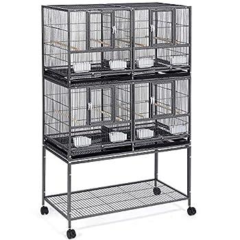 Yaheetech Lot de 2 Cage à Oiseaux avec Séparation Mangeoire Perchoir Cages Oiseaux Empilables 95L x 45L x 105H cm Metal