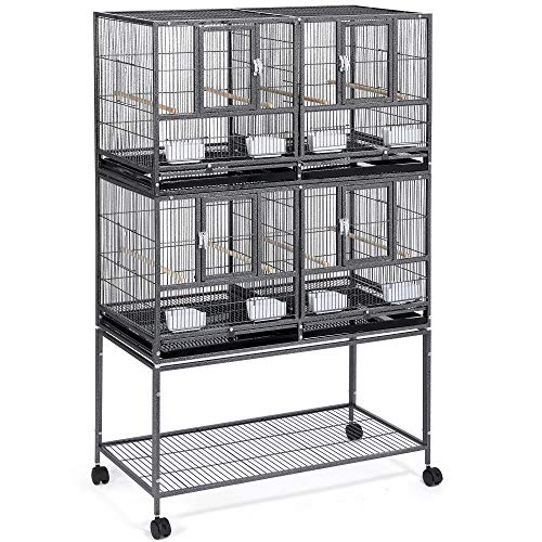 YAHEETECH Stackable Divided Breeder Breeding Parakeet Bird Cage for Canaries Cockatiels Lovebirds Finches Budgies Small Parrots with Rolling Stand, 2 Pack