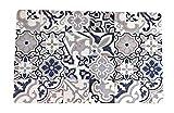 Alfombra Económica Textil Slim Suelo Baldosa Hidráulica Original Moderna Lavable Tario (2,5mm de Grosor) (50x80cm)