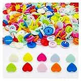 Botón De Presión 10 colores Botones de cierre de plástico con forma de plástico con forma de corazón para bebé 10sets (Color : Classic kit)