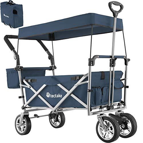 TecTake 800800 Faltbarer Bollerwagen mit Dach, viele Taschen, klappbarer Handwagen mit Bremsen, Outdoor Transportkarre, bis 80 kg belastbar - Diverse Farben - (Blau | Nr. 403550)