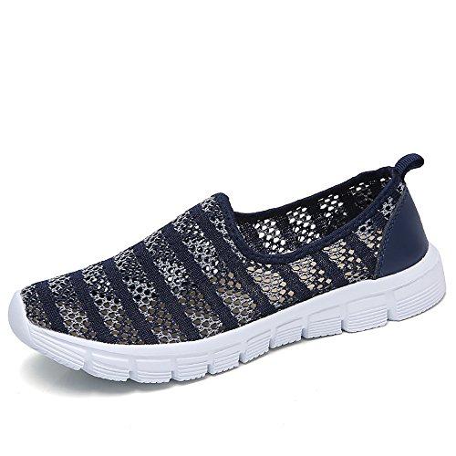 Zapatos para Corror Mujer Zapatillas de Deportiva Slip on Huecos Sneakers para Caminar Walking Calzado Malla Transpirables Loafer Ligeros Mocasines Verano Azul 41