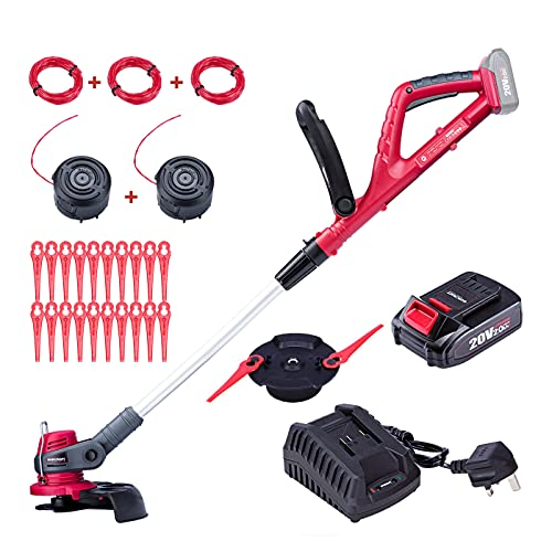WORCRAFT 20V Cordless Grass Trimmer/ Edger 2-in-1, 7 Positions Head & 9 Positions Handle Setting, Include 2.0Ah Battery, Fast Charger, 20pcs Blades, 3x 3m spool line, 3 Heads