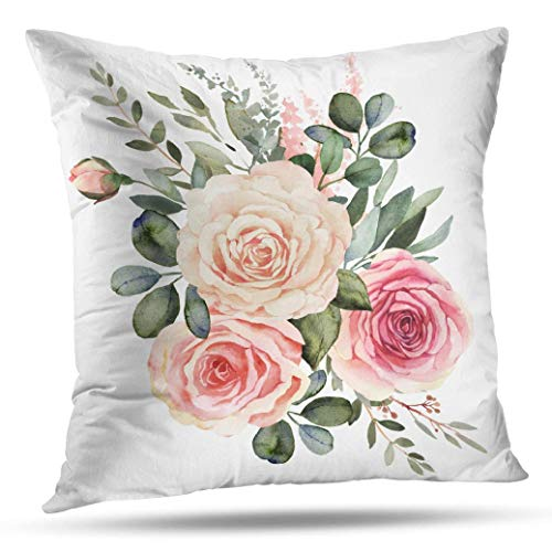 Suesoso Pillowcover 16 x 16 inch Peaches and Cream Watercolor Floral Throw Pillow Cover Home Decorative Cushion Case Pillow Case Sofa Bed Car Living Home with Hidden Zippered