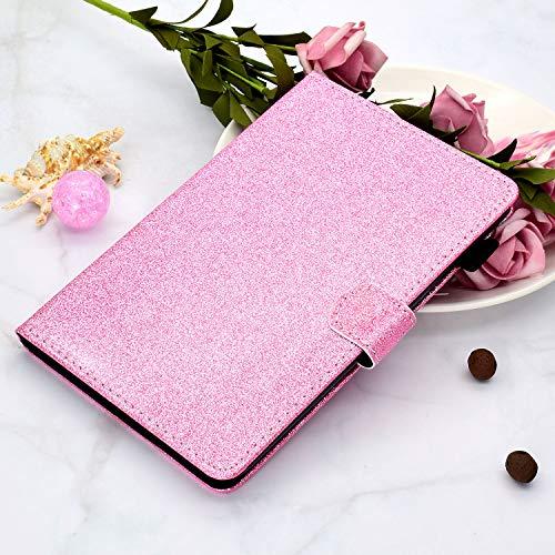 CaseFun Hülle für Samsung Galaxy Tab A7 10.4 2020 T500/T505/T507 Glitzer PU Leder Tasche Hülle Etui Schutzhülle Case Cover Bookstyle Lederhülle mit Standfunktion Rosa