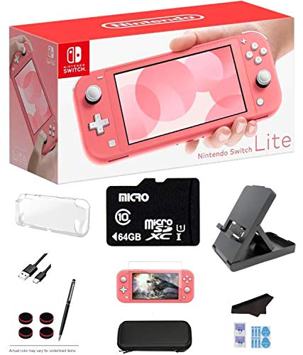 Nintendo Switch Lite - Coral Game Console with 64GB SD Card, LCD Touchscreen, Built-in Plus Control Pad, WiFi, Bluetooth and GalliumPi Ultimate 12-in-1 Bundle