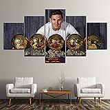 TDDL Leinwanddrucke Sport Fuß Star Lionel Messi Mit Preis Leinwand Gemälde 5 Stück Wandkunst Modulare Bild Tapeten Poster Print Home Decor