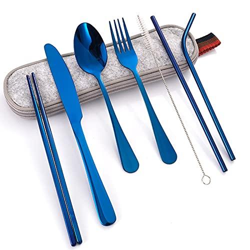 OMKMNOE Conjunto De Cubiertos De Acero Inoxidable Portátil, Conjunto De Cubiertos De Viaje/Camping, Utensilio Portátil, Cubiertos De Viaje con Estuche Impermeable,Azul