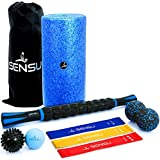 Sensu 9-in-1 Foam Roller Set – Muscle Roller Set Includes Peanut Ball, 3 Resistance Bands, Massage Roller Stick, Lacrosse Ball, and Spikey Ball for Deep-Tissue Massage and Myofascial Relief