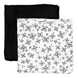 HonestBaby 2-Pack Organic Cotton Swaddle Blankets, Tossed Skulls/Black, One Size