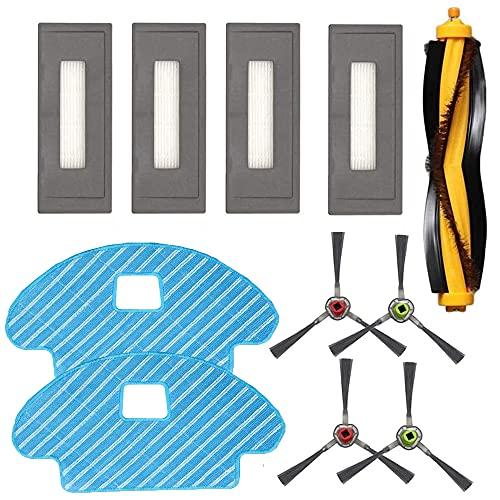Anwor Zubehör/Ersatzset für Ecovacs DEEBOT OZMO 930, 1*Hauptbürste 4*Seitenbürsten 4*Ersatzfilter/Filter 2*Tücher für Ecovacs DG3G-KTA OZMO 930