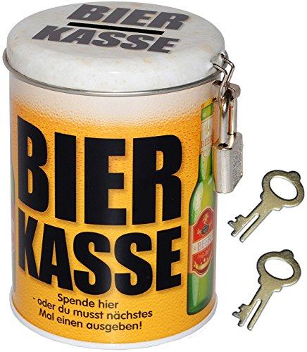 alles-meine.de GmbH Spardose -  Bier Kasse  - mit 2 Schlüssel und Schloss - stabile Sparbüchse aus Metall - Geld Sparschwein / Blechdose - Bierfass Bierkrug / Bierdose - Jungge..