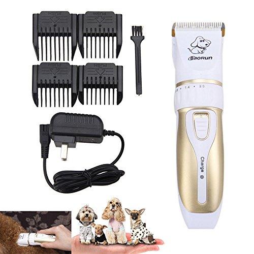 BAORUN Cortapelos profesionales para mascotas, recargable, inalámbrico, para perros pequeños, medianos y grandes, gatos y otros animales, kit de aseo para mascotas de bajo ruido (dorado)