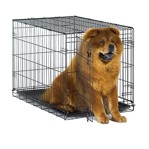 New World 36' Folding Metal Dog Crate, Includes Leak-Proof Plastic Tray; Dog Crate Measures 36L x 23W x 25H Inches, Fits Intermediate Dog Breeds