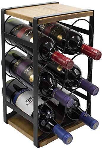 Sorbus Rustic Wood Wine Rack for Countertop Holds 6 Bottles - Decorative Bottle Holder for Kitchen Bar Dining Room - Tabletop Wood Base - No Assembly