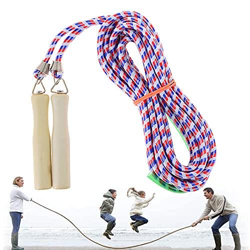 XPUING Springen Seil mit Holzgriff,Verstellbare Springseil für Kinder,Baumwollseil, Seilspringen Fitness,Outdoor Springseil seil Multiplayer Springseile für das Schultraining (Rot Blau, 10M)
