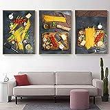 cuadros decoración Pintura de alimentos de cocina moderna Pasta cruda Espaguetis italianos Lienzo Posters Impresiones Imagen de arte de pared para bar Restaurante Comedor   40x60cmx3 Sin marco