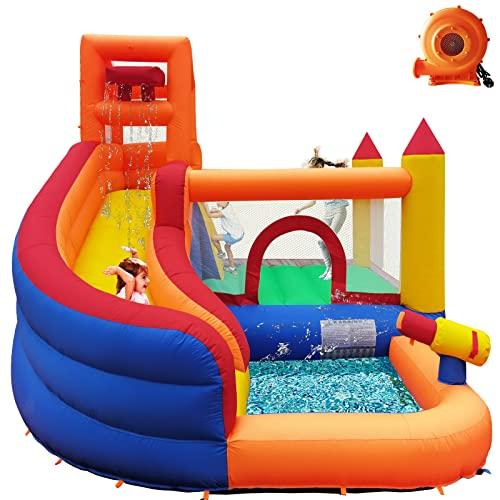 Toboggan gonflable 5 en 1 avec ventilateur, aire de jeu pour enfants dans le jardin, avec toboggan à eau, pistolet à eau, pataugeoire, mur d'escalade, espace de saut, seau à eau (tissu Oxford).
