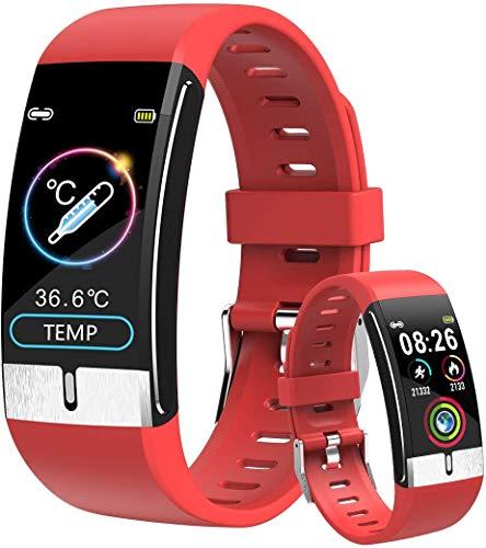 Pulsera Actividad Inteligente, Smartwatch con Medidor de Temperatura Corporal, Reloj Inteligente Medidor de Frecuencia Cardíaca Medidor de Presión del Tiempo Contador de Calorías para Hombre y Mujer