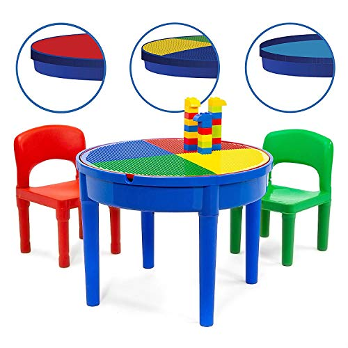 Kids Multi Activity Table Set - 25 Pieces Large Building Blocks Compatible Bricks Toy, Play Table Includes 2 Chair and Building Block Table with Storage for Boys Girls 3+