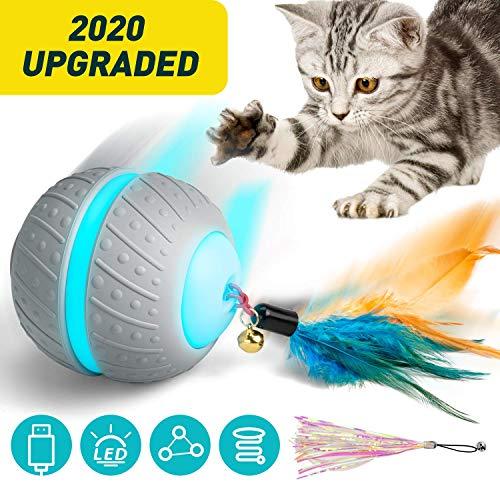 Ventvinal Katzenspielzeug Elektrischer Interaktives Ball, 2 Bewegungsmodi Katzenball mit USB-Aufladung des LED-Lichts,Katzen Roller Ball Intelligenzspielzeug für Cat Haustiereignung