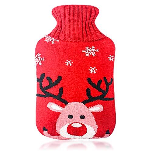 Wärmflasche mit Bezug,Wärmeflasche,Wärmflasche Kinder,Abnehmbare und waschbare Wärmflasche,Wärmflasche mit waschbare Strickflaschenabdeckung,Die BestenWeihnachten & Wintergeschenke (D)