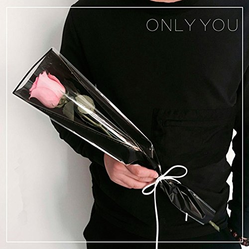 BBC Flower Wrapping Paper Single Rose Packaging Bag 100 Pack (Black)