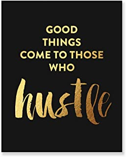 Hustle Gold Foil Print Black Matte Paper Motivational Poster Metallic Decor Inspirational Quote Modern Dorm Room Home Office Wall Art 5 inches x 7 inches A50