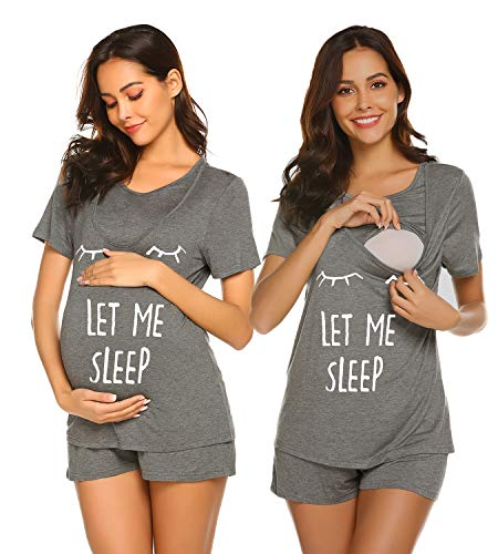 Ekouaer Nursing Breastfeeding Top Short Sleeve Maternity Shorts Set