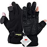 Songwin Waterproof Winter Gloves,3M Thinsulate Ski & Snowboard Gloves For Men And Women,Touchscreen Gloves For Fishing,Photographing,Hunting Outdoor Activities. (Black, M)