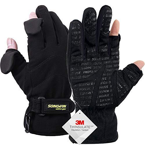 Songwin wasserdichte Winterhandschuhe,3M Thinsulate Ski & Snowboard Handschuhe für Herren und Damen,Touchscreen-Handschuhe zum Angeln,Fotografieren,Jagen im Freien.(Schwarz, L)