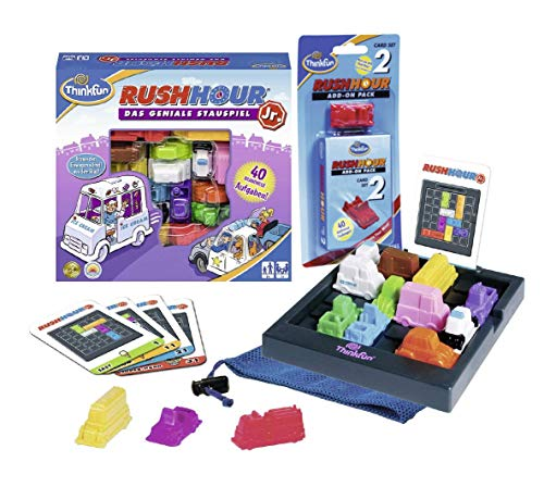 Ravensburger ThinkFun-Set: 76303 - Rush Hour Junior - Das geniale Stauspiel für Kinder + 76333 - Rush Hour 2, ab 5 Jahren
