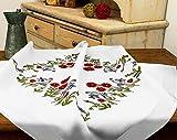 Kamaca Kit de punto de cruz con diseño de amapolas, mantel de 80 x 80 cm, punto plano y pintura con aguja, de algodón, juego completo de punto de cruz con plantilla de bordado