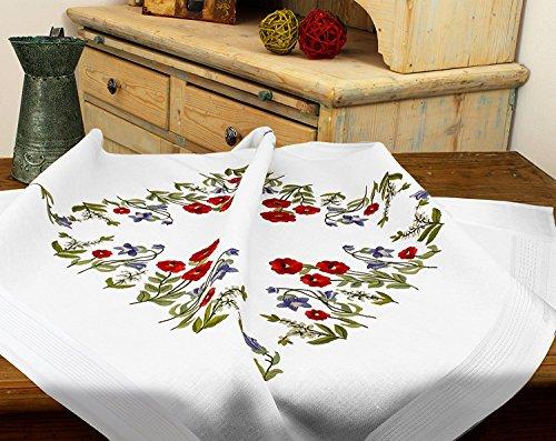 Kamaca Stickpackung Mohnblumen - Wiese Tischdecke 80x80 cm Stielstich Plattstich Nadelmalerei vorgezeichnet aus Baumwolle komplettes Stickset mit Stickvorlage