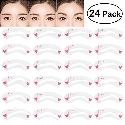 NUOLUX 24Pcs Augenbraue Schablone stellte Augen-Augenform-Schablonen-Schablonen-Installationssatz für Verfassung ein