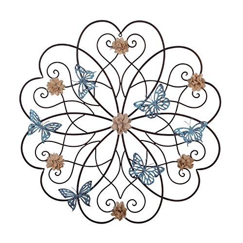 Adeco Flower and Butterfly Home Decorative Scrolled Metal Wall Decor For Home/Kitchen - 28.2x28.2 Inches