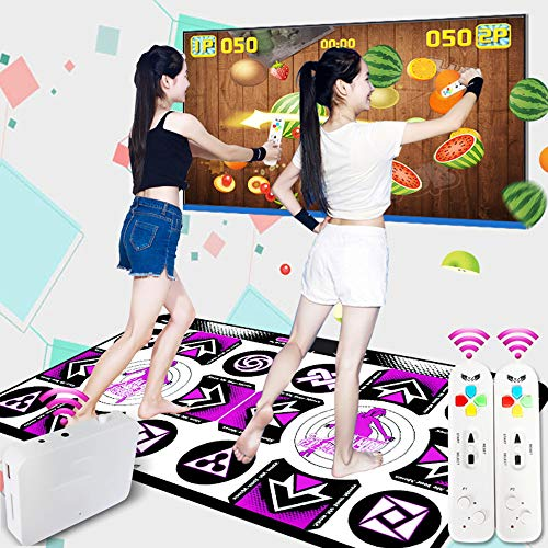 WNZL - Esterilla de baile doble HD Dance Machine 3D, manta para correr, yoga, juego, máquina de masaje de silicona, yoga, fitness, con dos gamepads para niños y adultos, morado, large