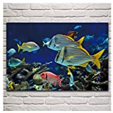 MGSHN Acuario de Peces de Colores exóticos Mundo Submarino Imagen de Animal Cartel decoración de Dormitorio impresión en Lienzo Obra de Arte 60x80 cm sin Marco