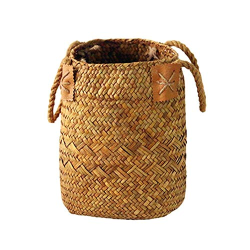 SEESEE.U Natural Seagrass Woven Flower Basket Pot Vase Laundry Baskets Home Storage Baskets Organizer With Handle Decoration,1 set
