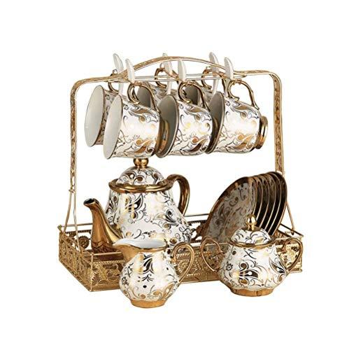 SMSOM Conjuntos de té de café de cerámica de Porcelana Regalo, Juego de café, 16 Piezas, Tazas de Tazas para 6, Tetera, Tazón de azúcar, Jarra de Cremas y 6 Cucharas, Tenedor de Metal