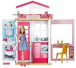 Barbie GXC00 - 2-Etagen Ferienhaus und Puppe, Ankleidepuppen-Zubehör, Abweichungen in Verpackung vorbehalten