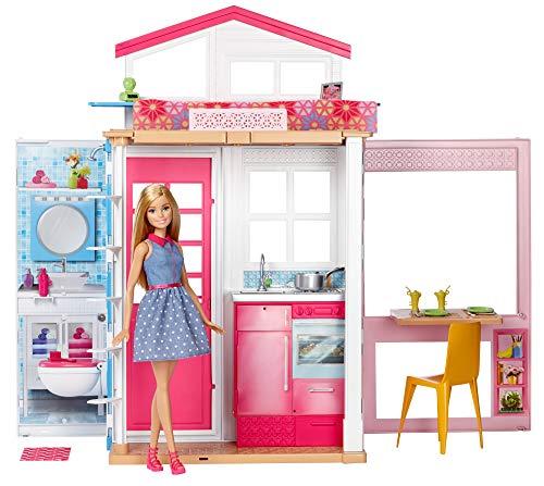 Barbie - Casa dos pisos plegable, casa con muñeca y accesorios (Mattel GXC00)