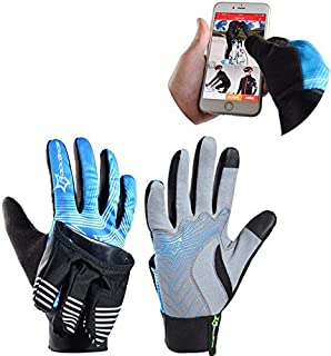 Winter Waterproof Full Finger Touch Scree Cycling Gloves with Rain Cover Stripe Style Bicycle MTB Road Bike Sports Mittens - M Silver