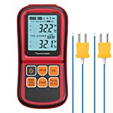 Kamtop Digital Thermometer Dual Channel Thermometer with Two K- Type Thermocouples Temperature Meter