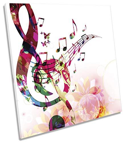Cuadro moderno con diseño de notas musicales, cuadrado, diseño floral, 60cm wide x 60cm high