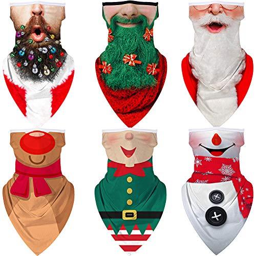 6 Pieces Unisex Ear Loop Christmas Seamless Face Bandanas Multi-Functional Neck Gaiter Scarf Novelty Balaclavas Headwear Headband for Christmas Outdoor